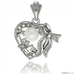 Sterling Silver Heart LOVE Bow w/ Faux Pearl Pendant CZ Stones Rhodium Finished, 7/8 in long