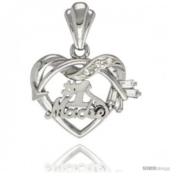 Sterling Silver No. 1 Madre w/ Cupid's Bow Heart Pendant CZ Stones Rhodium Finished, 3/4 in long