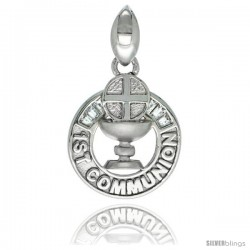 Sterling Silver 1st COMMUNION Chalice and Cross Round CZ Pendant, 3/4 in long
