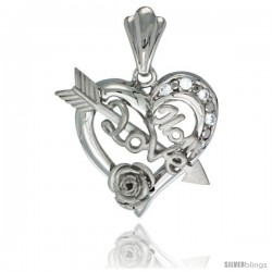 Sterling Silver LOVE MOM w/ Cupid's Bow & Rose Heart Pendant CZ Stones Rhodium Finished, 7/8 in long