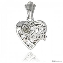 Sterling Silver No. 1 MOM Heart Love Pendant CZ Stones Rhodium Finished, 3/4 in long