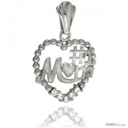 Sterling Silver No. 1 MOM Heart Pendant CZ Stones Rhodium Finished, 13/16 in long