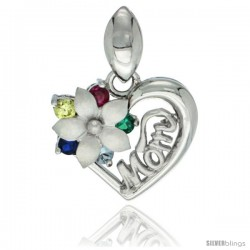 Sterling Silver MOM Flower CZ Heart Pendant Rhodium Finished, 9/16 in long