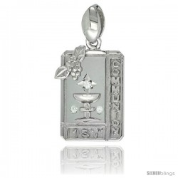 Sterling Silver 1ST COMMUNION Chalice Rectangular CZ Medal, 7/8 in long
