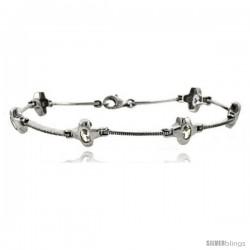 "7"" Sterling Silver Cross Bracelet with CZ"