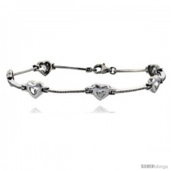 "7"" Sterling Silver Heart Bracelet with CZ"