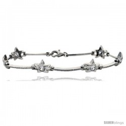 "7"" Sterling Silver Star Bracelet with CZ"