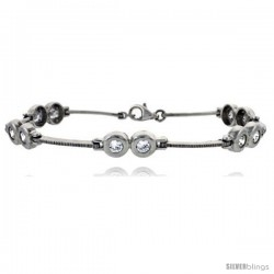 "7"" Sterling Silver Brilliant Cut CZ Bracelet"