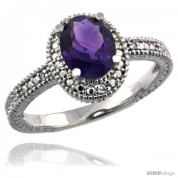 Sterling Silver Diamond Vintage Style Oval Amethyst Stone Ring Rhodium Finish, 7x5 mm Oval Cut Gemstone