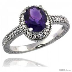 Sterling Silver Diamond Vintage Style Oval Amethyst Stone Ring Rhodium Finish, 7x5 mm Oval Cut Gemstone