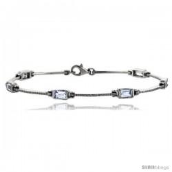 """7"""" Sterling Silver Emerald Cut CZ Bracelet"""