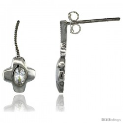 Sterling Silver CZ Cross Post Earrings 11/16 in. (18 mm) tall