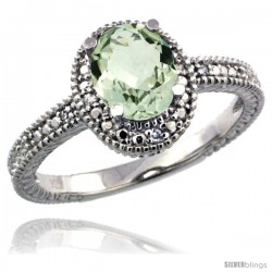 Sterling Silver Diamond Vintage Style Oval Green Amethyst Stone Ring Rhodium Finish, 7x5 mm Oval Cut Gemstone