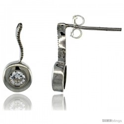Sterling Silver Round CZ Post Earrings 5/8 in. (16 mm) tall