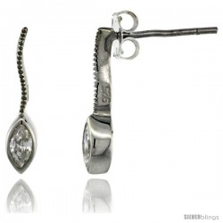 Sterling Silver Marquise CZ Post Earrings 5/8 in. (16 mm) tall
