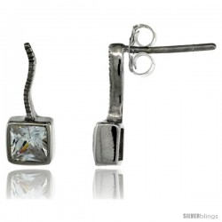 Sterling Silver Square CZ Post Earrings 9/16 in. (14 mm) tall