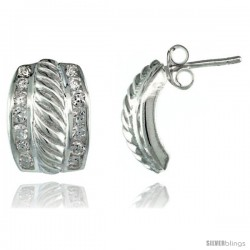 Sterling Silver Rope Design Fancy CZ Earrings 9/16 in. (14 mm) tall