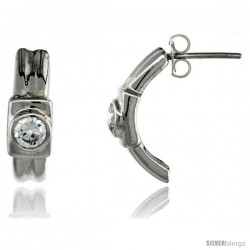 Sterling Silver Half-Hoop Fancy CZ Earrings 11/16 in. (17.5 mm) tall -Style Qe104