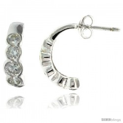 Sterling Silver 5-Stone Half-Hoop Fancy CZ Earrings 5/8 in. (16 mm) tall