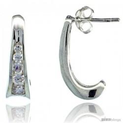 Sterling Silver 5-Stone Fancy CZ Journey Earrings 11/16 in. (18 mm) tall
