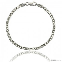 Sterling Silver Classic Italian Cable Chain Necklaces & Bracelets 3.8mm wide Nickel Free