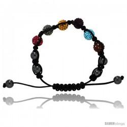 Multi Color Crystal Disco Ball Adjustable Unisex Macrame Bead Bracelet w/ Hematite Beads, 3/8 in. (10 mm) wide