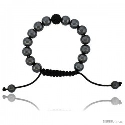 Adjustable Unisex Hematite Macrame Bead Bracelet w/ Black Crystal Disco Ball, 3/8 in. (10 mm) wide
