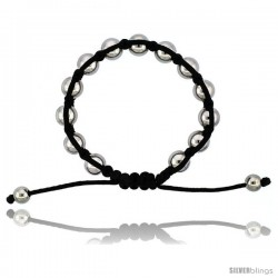 Adjustable Unisex Hematite Macrame Bead Bracelet 3/8 in. (10 mm) wide
