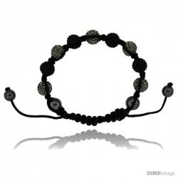 Gray & Black Color Crystal Disco Ball Adjustable Unisex Macrame Bead Bracelet w/ Hematite Beads, 3/8 in. (10 mm) wide