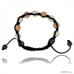 Peach & White Color Crystal Disco Ball Adjustable Unisex Macrame Bead Bracelet w/ Hematite Beads, 3/8 in. (10 mm) wide