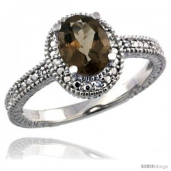 Sterling Silver Diamond Vintage Style Oval Smoky Topaz Stone Ring Rhodium Finish, 7x5 mm Oval Cut Gemstone