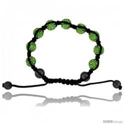 Yellow-Green Color Crystal Disco Ball Adjustable Unisex Macrame Bead Bracelet w/ Hematite Beads, 3/8 in. (10 mm) wide