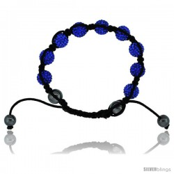 Blue Sapphire Color Crystal Disco Ball Adjustable Unisex Macrame Bead Bracelet w/ Hematite Beads, 3/8 in. (10 mm) wide