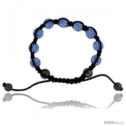 Blue Topaz Color Crystal Disco Ball Adjustable Unisex Macrame Bead Bracelet w/ Hematite Beads, 3/8 in. (10 mm) wide
