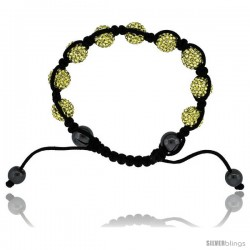 Yellow Color Crystal Disco Ball Adjustable Unisex Macrame Bead Bracelet w/ Hematite Beads, 3/8 in. (10 mm) wide