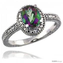 Sterling Silver Diamond Vintage Style Oval Mystic Topaz Stone Ring Rhodium Finish, 7x5 mm Oval Cut Gemstone