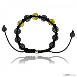 Black & Yellow Color Crystal Disco Ball Adjustable Unisex Macrame Bead Bracelet w/ Hematite Beads, 1/2 in. (12.5 mm) wide
