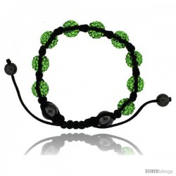 Green Peridot Color Crystal Disco Ball Adjustable Unisex Macrame Bead Bracelet w/ Hematite Beads, 1/2 in. (12.5 mm) wide