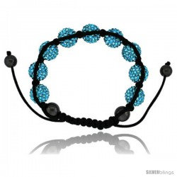 Blue Topaz Color Crystal Disco Ball Adjustable Unisex Macrame Bead Bracelet w/ Hematite Beads, 1/2 in. (12.5 mm) wide