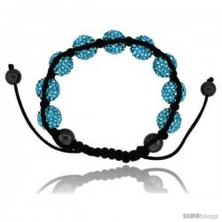 Blue Topaz Color Crystal Disco Ball Adjustable Unisex Macrame Bead Bracelet w/ Hematite Beads, 1/2 in. (12.5 mm) wide