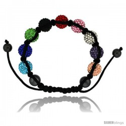Multi Color Crystal Disco Ball Adjustable Unisex Macrame Bead Bracelet w/ Hematite Beads, 1/2 in. (12.5 mm) wide