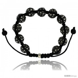 Black Crystal Disco Ball Adjustable Unisex Macrame Bead Bracelet w/ Hematite Beads, 1/2 in. (12.5 mm) wide