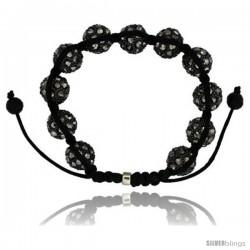 Black Crystal Disco Ball Adjustable Unisex Macrame Bead Bracelet w/ Hematite Beads, 1/2 in. (12.5 mm) wide