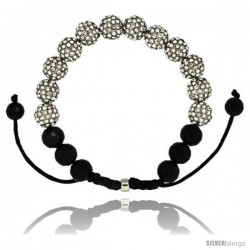 White Crystal Disco Ball Adjustable Unisex Macrame Bead Bracelet w/ Faceted Black Beads, 3/8 in. (10 mm) wide