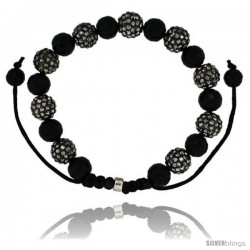 Black Crystal Disco Ball Adjustable Unisex Macrame Bead Bracelet w/ Faceted Black Beads, 3/8 in. (10 mm) wide