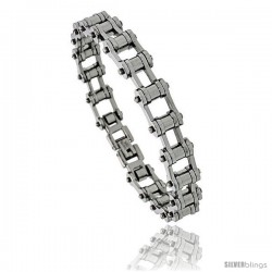 Stainless Steel Bicycle Chain Bracelet Solid Link 3/8 in wide