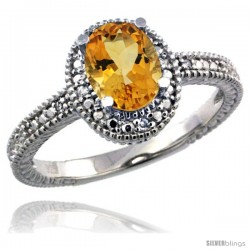 Sterling Silver Diamond Vintage Style Oval Citrine Stone Ring Rhodium Finish, 7x5 mm Oval Cut Gemstone