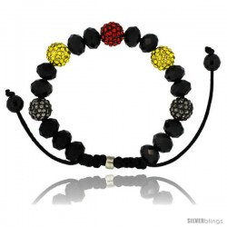 Multi Color Crystal Disco Ball Adjustable Unisex Macrame Bead Bracelet w/ Faceted Black Beads, 3/8 in. (10 mm) wide
