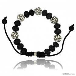 Crystal Disco Ball Adjustable Unisex Macrame Bead Bracelet w/ Faceted Black Beads, 3/8 in. (10 mm) wide