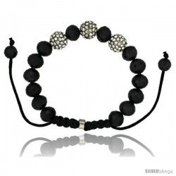 Crystal Disco Ball Adjustable Unisex Macrame Bead Bracelet w/ Faceted Black Beads, 3/8 in. (10 mm) wide -Style Cbb214